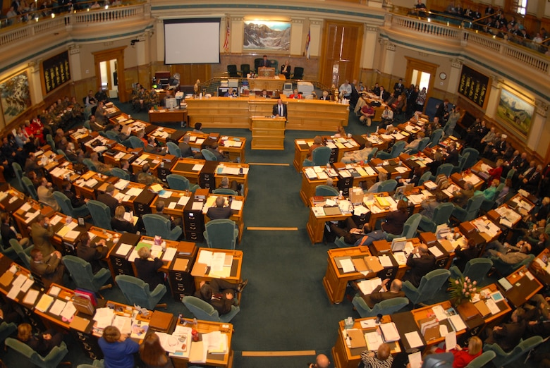 Members of the Colorado State House of Representatives prepare to read Proclamation 10-07, proclaiming Feb 13, 2008 Military Appreciation Day in Denver, Colo., Feb 13, 2008.  (U.S. Air Force photo by Airman First Class Randi Flaugh)