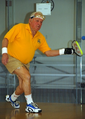 Bill Dawkins, a 79-year-old former Marine Corps private first class, sharpens his racquetball skills at the Dover Air Force Base Fitness Center. Mr. Dawkins is preparing for the National Senior Games 2009 – Senior Olympics. (U.S. Air Force photo/Tech. Sgt. Kevin Wallace)
