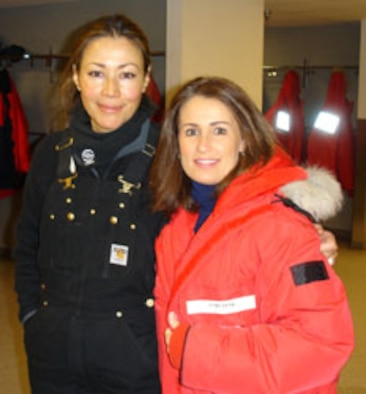 Master Sgt. Lori Pink, right, met with NBC reporter Ann Curry during her trip. NBC did a special news report on scientific research being conducted on the continent while the reservist were there certifying runway landing systems.