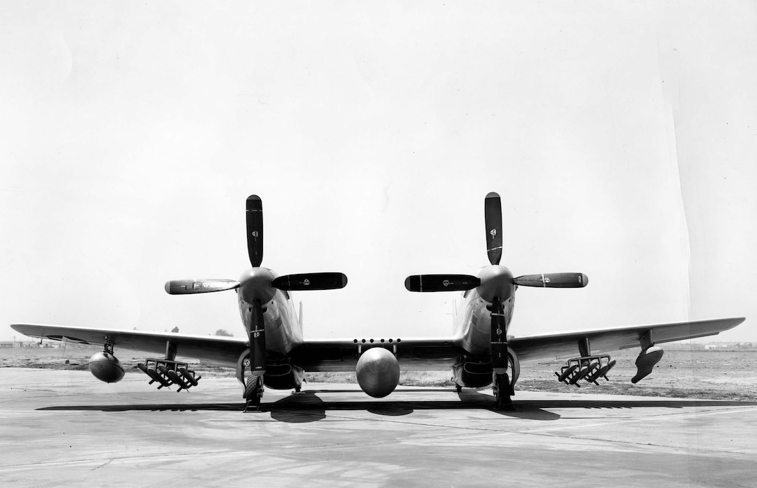 Front view of North American XF-82 (S/N 44-83886) with 445-gallon droppable tank, 10 5-inch rockets, 110-gallon tank and a chemical tank. (U.S. Air Force photo)