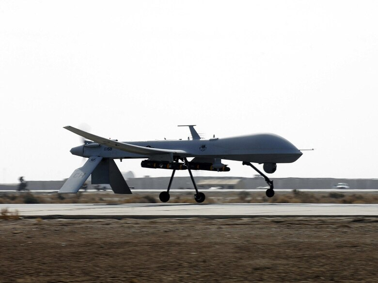 An Air Force MQ-1 Predator from the 361st Expeditionary Reconnaissance Squadron takes off from Ali Base, Iraq, in support of Operation Iraqi Freedom. The Predator is a medium-altitude, long-endurance, remotely piloted aircraft capable of conducting armed reconnaissance. (U.S. Air Force photo/Airman 1st Class Jonathan Snyder)