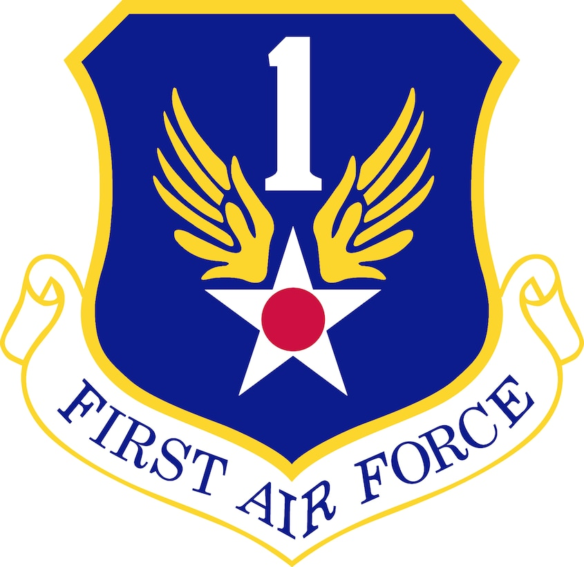 1st Air Force Shield (Color). Image provided by the Air Force Historical Research Agency. In accordance with Chapter 3 of AFI 84-105, commercial reproduction of this emblem is NOT permitted without the permission of the proponent organizational/unit commander. The image was created by Andy Yacenda of the Air Force News Agency and is 7x7 inches @ 300 dpi