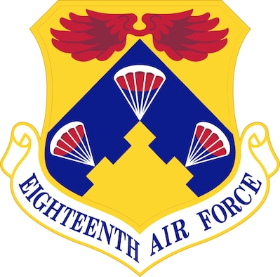 18th Air Force Shield (Color). Image provided by the Air Force Historical Research Agency. In accordance with Chapter 3 of AFI 84-105, commercial reproduction of this emblem is NOT permitted without the permission of the proponent organizational/unit commander. The image is 6x6 inches @ 300 ppi.