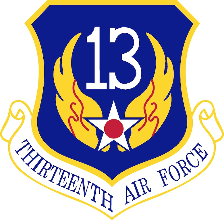 13th Air Force Shield (Color). Image provided by the Air Force Historical Research Agency. In accordance with Chapter 3 of AFI 84-105, commercial reproduction of this emblem is NOT permitted without the permission of the proponent organizational/unit commander. The image was created by Andy Yacenda of the Air Force News Agency and is 7x7 inches @ 300 dpi.