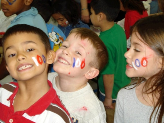 AVIANO AIR BASE ITALY--Elementary students at Aviano Elementary School enjoy their 100th day at school.