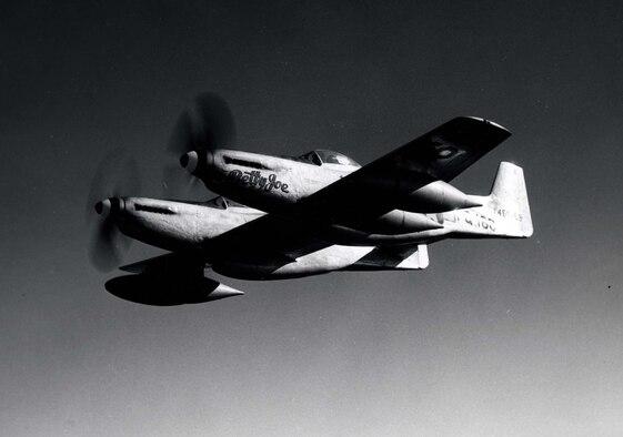 "North American F-82B ""Betty Jo"" (S/N 44-65168) in flight. Note the alternate name ""Betty Joe."" (U.S. Air Force photo)"