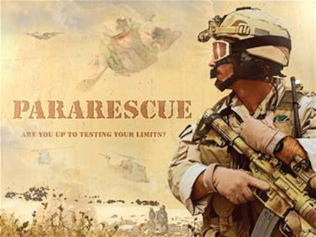 """"""" Pararescue.""""  Created by Ken Chandler. This image is 10x7.5 @ 300 ppi. Printable (PDF) files for this image, up to 18x24 inches @ 300 ppi, are available by contacting afgraphics@dma.mil. This image is copyrighted and is the property of Ken Chandler and is available only to members of the armed forces and military organizations."""