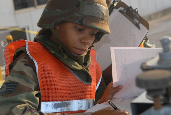 Staff Sgt. Christy Jones, 18th Logistical Readiness Squadron cargo team, prepares a generator to be moved as part of a cargo load during Local Operational Readiness Exercise Beverly High 08-3 at Kadena Air Base, Japan, Jan. 7, 2007. The 18th Wing exercise from Jan. 7 to 11 tests the wing's ability to respond in contingency situations. (U.S. Air Force photo/Staff Sgt. Christopher Marasky)