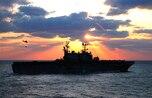 The amphibious assault ship USS Tarawa conducts a vertical replenishment at sea, Jan. 9, 2008.