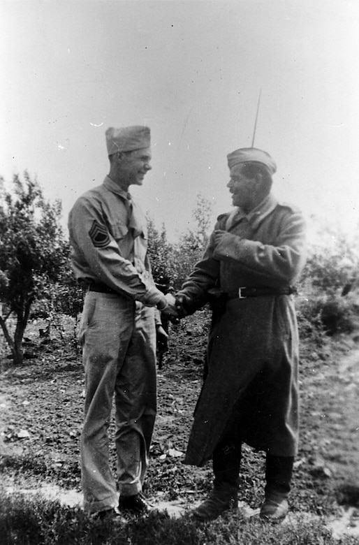 TSgt. Bernard McGuire with Russian solider in Poltava, Russia, in June 1944. (U.S. Air Force photo)