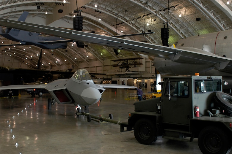 DAYTON, Ohio - The F-22A Raptor as it first enters through the hangar doors at the National Museum of the U.S. Air Force. (U.S. Air Force photo)