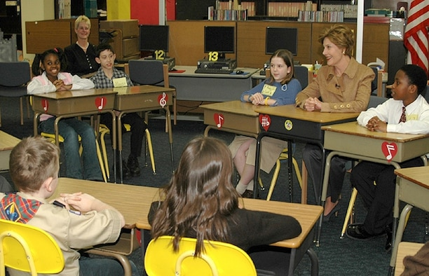First Lady Laura Bush visits with Department of Defense Dependents Schools-Europe students. (Courtesy photo)