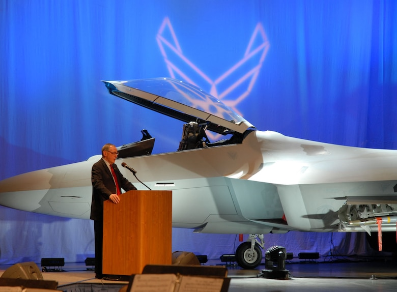 DAYTON, Ohio (1/17/08) - National Museum of the U.S. Air Force Director, Maj. Gen. (Ret.) Charles D. Metcalf, addresses the crowd during the F-22A Raptor exhibit opening ceremony at the National Museum of the U.S. Air Force. (U.S. Air Force photo)