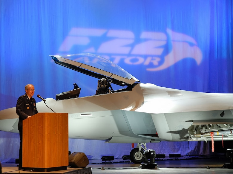 DAYTON, Ohio (1/17/08) - Assistant Vice Chief of Staff and Director, Air Force Staff, Lt. Gen. Frank G. Klotz, addresses the crowd during the F-22A Raptor exhibit opening ceremony at the National Museum of the U.S. Air Force. (U.S. Air Force photo)