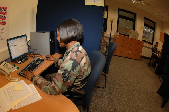 Staff Sgt. Kellie Ford, 435th Air Base Wing judge advocate, prepares to file her taxes Jan. 18. The new tax center opens on January 23 for servicemembers to walk in and do their own taxes.  (U.S. Air Force photo by Airman 1st Class Amber Bressler)(RELEASED)