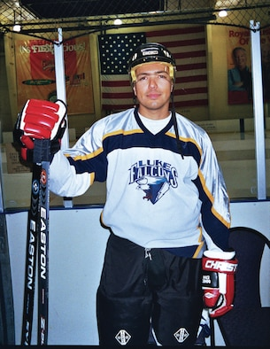 Sergeant Brangaitis playing for the Luke AFB hockey team the Thunderbolts. (Photo by Raelene Espinoza)