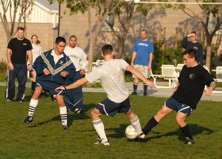 The teams battle it out in soccer for the WAR FIT crown. The GPS Wing won the game 6 to 0.  (Photo by Stephen Schester)