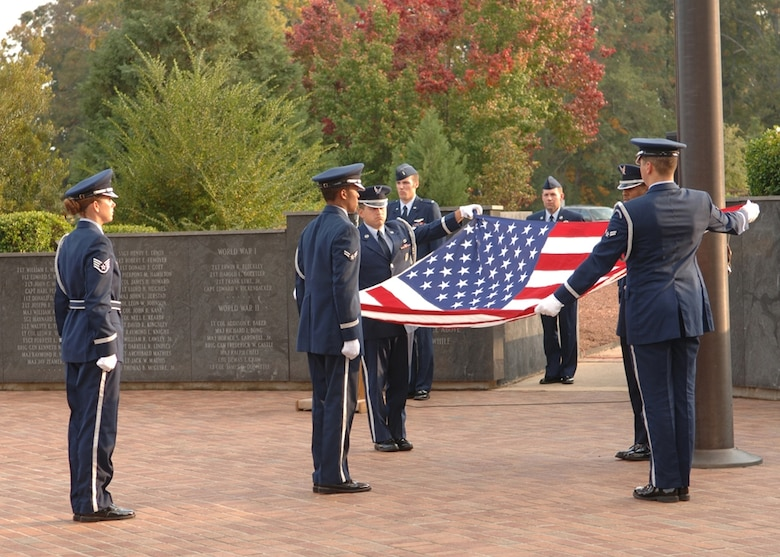Members of the 14th Flying Training Wing Honor Guard fold the flag during the Veteran's Day retreat ceremony in November. During the ceremony, veterans, both past and present, were honored. (U.S. Air Force photo by Elizabeth Owens)