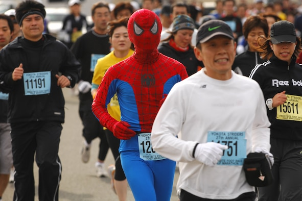 Yokota Air Base, Japan - A runner dressed as Spiderman participates in the 27th annual Frostbite Foot Race on 20 January 2008. More than 7000 runners participated, some of which chose to wear funny costumes which has been the established custom every year. (U.S. Air Force photo by Osakabe Yasuo)