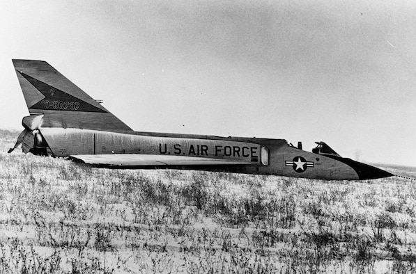 This F-106A (S/N 58-0787) was involved in an unusual incident. During a training mission, it entered an flat spin forcing the pilot to eject. Unpiloted, the aircraft recovered on its own and miraculously made a gentle belly landing in a snow-covered field. (U.S. Air Force photo)