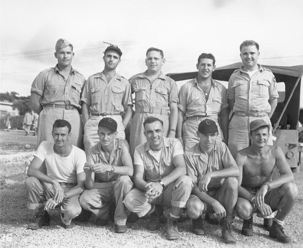 Standing: Capt. Beahan, Capt. Van Pelt, Lt. Albury, Lt. Olivi, Maj. Sweeney. Kneeling: S/Sgt Buckley, M/Sgt Kuharek, Sgt Gallagher, S/Sgt De Hart, Sgt Spitzer