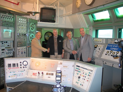 Explorer 1 veterans (from left) Ike Rigell, Terry Greenfield, Norm Perry and John Meisenheimer Sr. reminisce recently inside the original blockhouse at Launch Complex 26 at Cape Canaveral AFS.  All four played critical roles in launching America's first satellite and believe the mission vaulted America firmly into the Space Age.  (USAF Photo by Ken Warren)