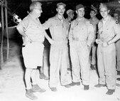 Lt Col Payette, Maj Ferebee, Col Tibbets, and Maj Van Kirk