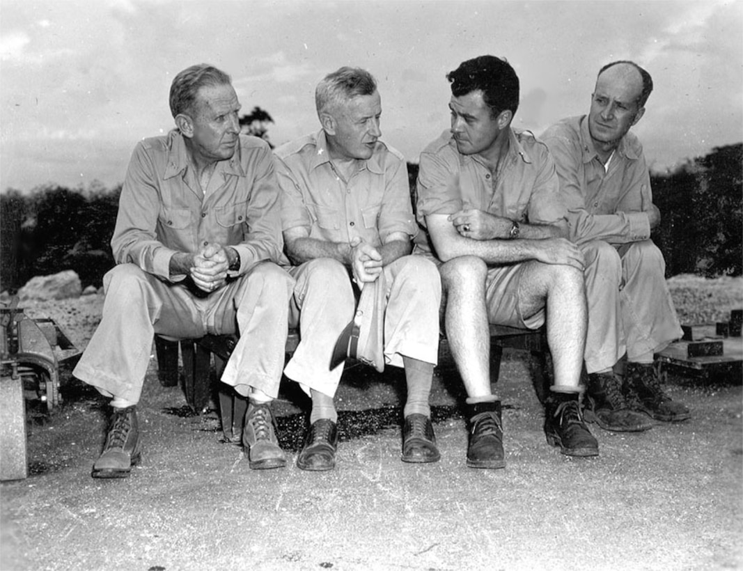 Rear Adm. Purnell, General Farrell, Colonel Tibbets, and Capt Parsons