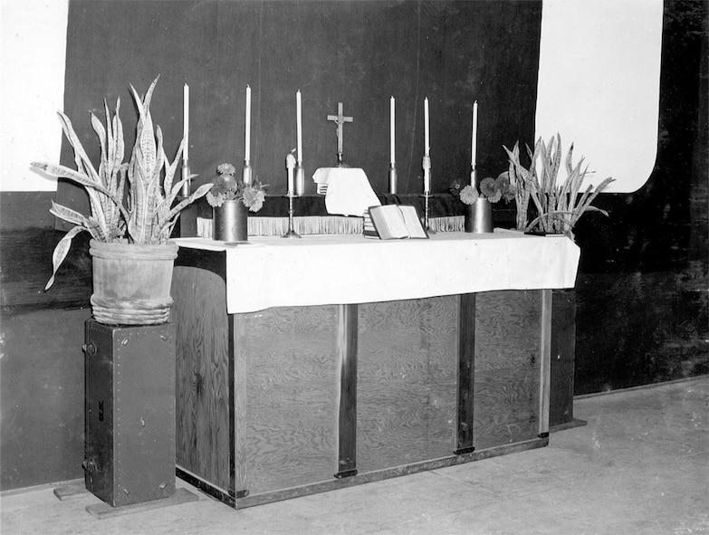The Altar at the outdoor theater where the victory service was conducted.