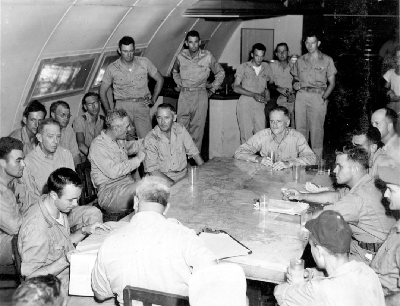 General Spaatz Attends Crew Interrogation