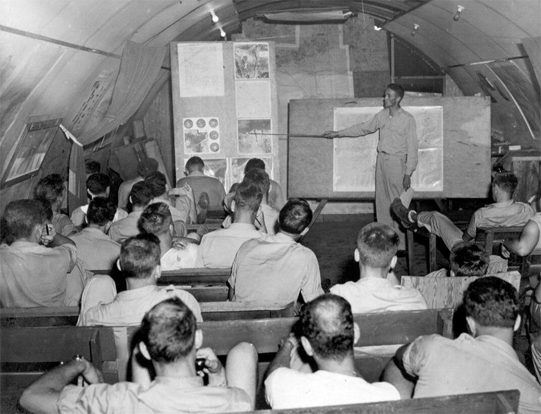 Capt Joseph Bucher, conducts lecture
