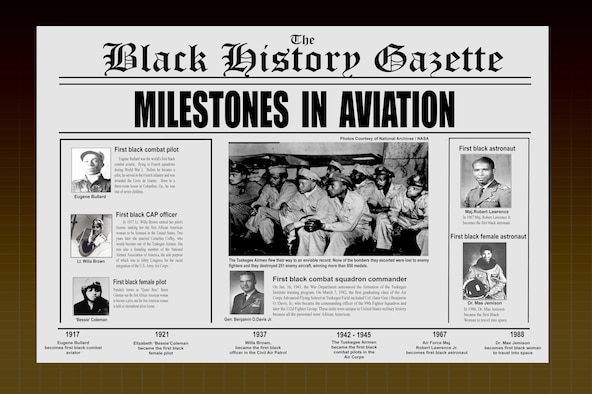 February is Black History Month and the 94th Airlift Wing would like to honor a few of the most prominent black aviators that flew their way into history in the United States Air Force and the aviation community. This is a large file and may be printed out in poster size. (U.S. Air Force graphic/Tech. Sgt. Robert Martin)