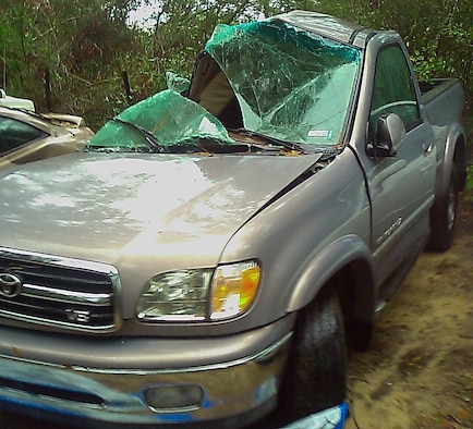 Capt. Tobias Switzer, 1st Special Operations Group, was driving this truck on Interstate 10 near DeFuniak Springs, Fla., when it hydroplaned and smashed into a tree Nov. 26, 2007. He survived the accident, but the truck was considered a total loss. (Courtesy photo)