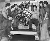 Instruction in Airplane Mechanics Course, Ground School Building, Foster Field, Texas, Oct. 1942.