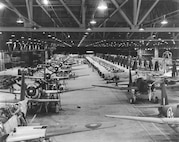 "Vultee Aircraft Co, Inc., Downey, California, Vultee ""Vengeance"" assembly line."