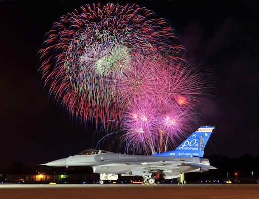 An F-16 Fighting Falcon aircraft from the 115th Fighter Wing, Wisconsin Air National Guard sits on the runway in Madison, Wis., June 28, 2008, during an Independence Day celebration and fireworks display. (DoD photo by Joe Oliva, U.S. Air Force)(Released)
