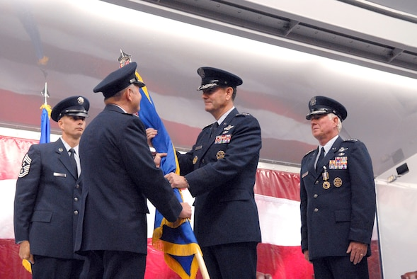 General Stephen Lorenz assumed command of Air Education and Training Command today in a ceremony at Randolph Air Force Base, Texas.  He replaces Gen. William R. Looney III, who retired during the ceremony. (U.S. Air Force photo/Rich McFadden)