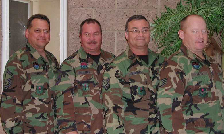 The Chambers brothers and their in-laws... Senior Master Sgt. Franklin Paredes, Master Sgt. Mark Chambers, Tech. Sgt. Albert Chambers and Staff Sgt. Donald Bates. (Air National Guard photo by Staff Sgt. Ashley Karas)
