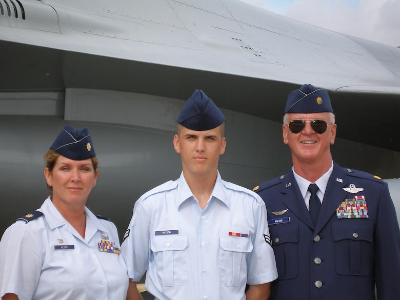 Maj. Patricia Wilson, Airman First Class Travis Wilson and Maj. (Ret.) Mike Wilson. Travis, who grew up in an Air Force family, now serves in the 162nd Medical Group. (Air National Guard photo by Staff Sgt. Ashley Karas)