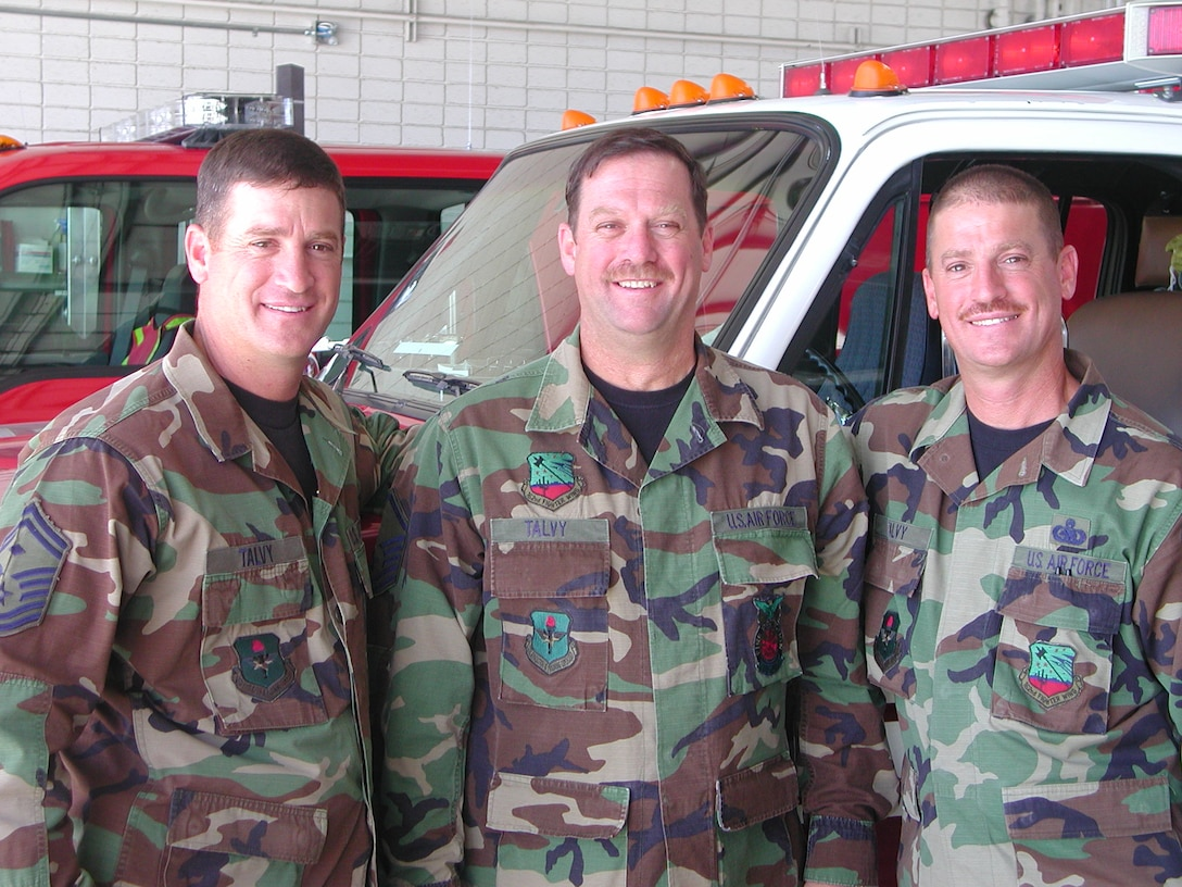 A real band of brothers... Senior Master Sgt. Larry Talvy, Master Sgt. Samuel Talvy and Master Sgt. Rick Talvy. Twins Larry and and Rick joined at the same time and went to basic training together. (Air National Guard photo by Staff Sgt. Ashley Karas)