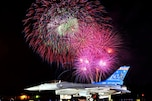An F-16 Fighting Falcon aircraft sits on the runway during an early Independence Day celebration and fireworks display in Madison, Wis., June 28, 2008. The Falcon aircraft is assigned to the 115th Fighter Wing, Wisconsin Air National Guard.