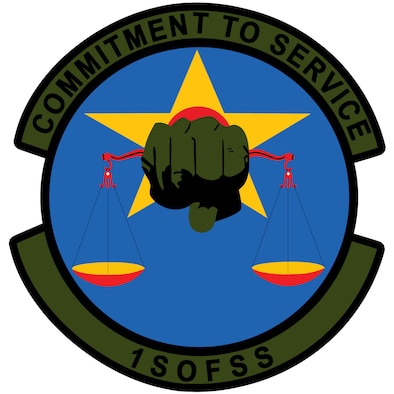 1st Special Operations Force Support Squadron: Blue represents the sky, the primary theater of Air Force operations. Yellow signifies the sun and the excellence required of Air Force personnel. Red refers to high threat missions supported by the unit. The star symbolizes Air Force Special Operations Command, the squadron's parent unit. The fist holding the scales shows the balance the unit must meet in supporting both the mission and serving the people. The colors of the hand denote the covert operations of Commando Special Operations.