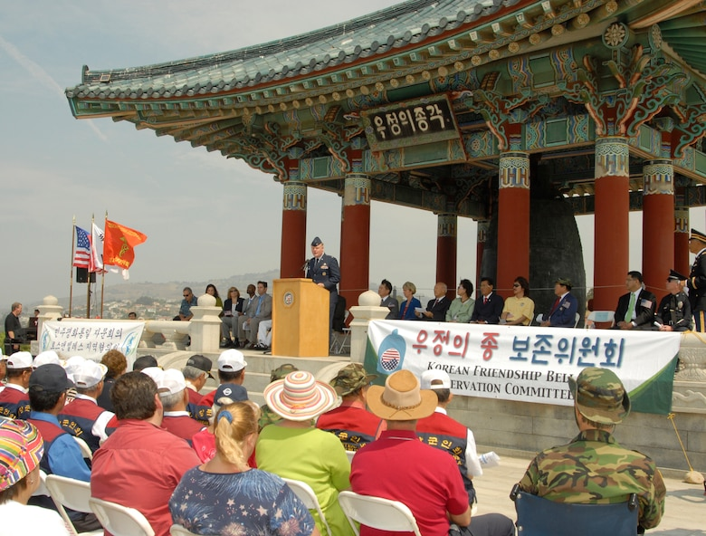 Col. Roger Teague, Space Based Infrared Systems Wing commander, addresses the San Pedro community during the 4th of July ceremony at the Korean Friendship Bell in San Pedro. (Photo by John Ryan)