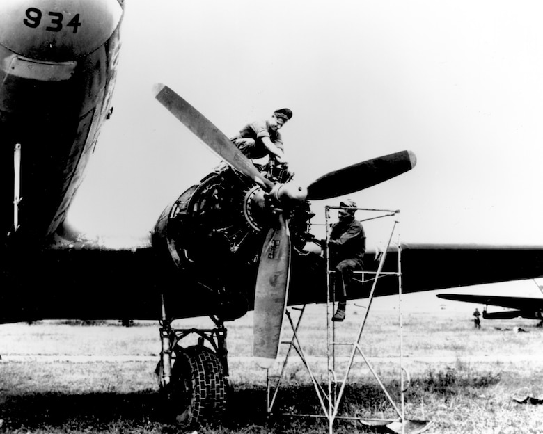 A C-47 Skytrain recevies minor engine repairs during the Berlin Airlift in 1948. (Courtesy photo)