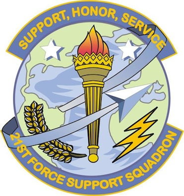 The 21st Force Support Squadron shield. (U.S. Air Force graphic)