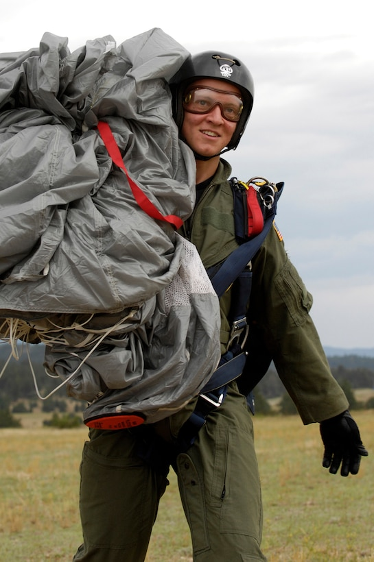 U.S. Air Force Academy Cadet 3rd Class David Barron smiles after completing his fourth free-fall jump July 7 during Airmanship 490, Basic Parachuting, an airmanship program where cadets earn their basic jump wings after successfully completing five free-fall jumps.  (U.S. Air Force photo/Mike Kaplan)