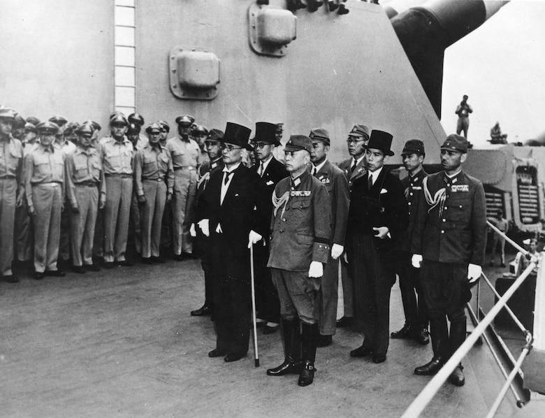 Japanese representatives on board the USS Missouri in Tokyo Bay to participate in formal surrender ceremonies on Sept. 2, 1945. (U.S. Air Force photo)
