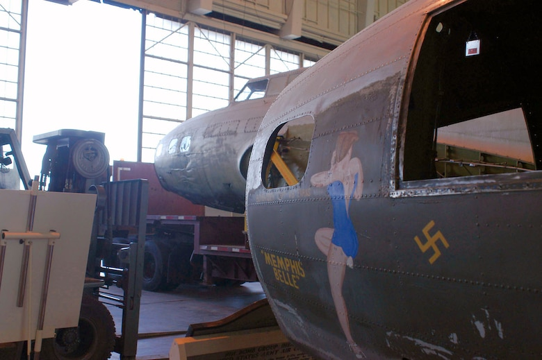 The B-17D The Swoose rests next to the B-17F Memphis Belle in the restoration area of the National Museum of the U.S. Air Force near Dayton, Ohio. (U.S. Air Force photo)
