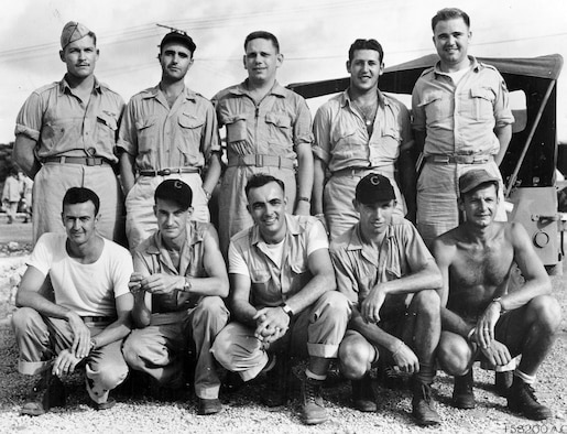 Back row (left to right): Capt. Kermit R. Beahan, Bombardier; Capt. James F. Van Pelt, Navigator; Capt. Charles D. Albury, Pilot; 2nd Lt. Fred J. Olivi, Co-pilot; Maj. Charles W. Sweeney, Aircraft Commander. Front row (left to right): SSgt. Edward K. Buckley, Radar Operator; MSgt. John D. Kuharek, Flight Engineer; Sgt. Raymond G. Gallagher, Assistant Flight Engineer; SSgt. Albert T. Dehart, Tail Gunner; Sgt. Abe M. Spitzer, Radio Operator. (U.S. Air Force photo)