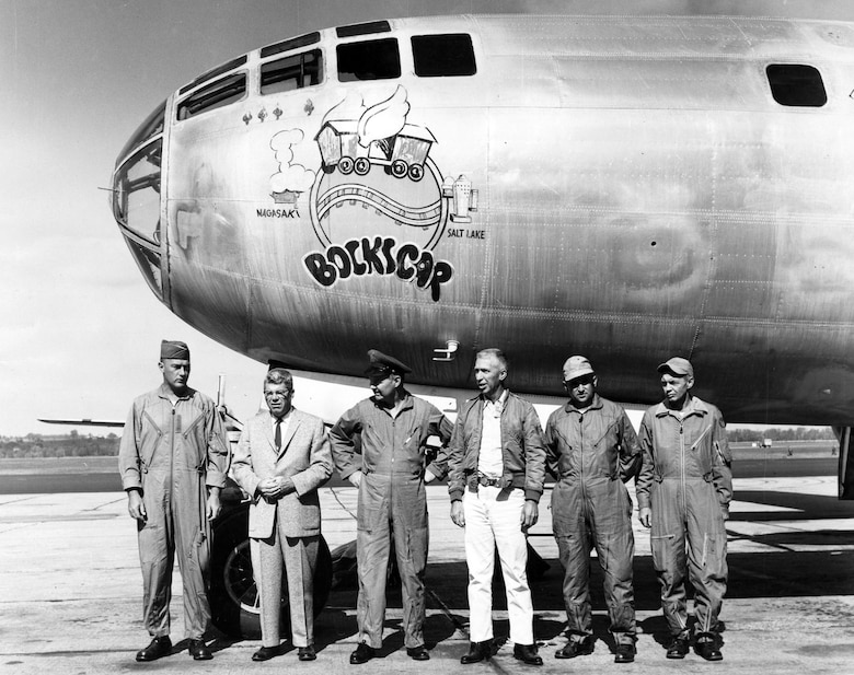 """Bockscar"" upon delivery to Wright-Patterson Air Force Base, Ohio, in 1961. The nose art was added sometime after the raid against Nagasaki. (U.S. Air Force photo)"